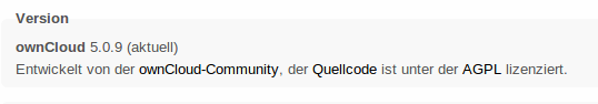 Versionshinweis im Admin-Bereich von ownCloud. Hier steht im Fall des Falles die Updatefunktion zur Verfügung