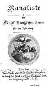 Deckblatt der Rangliste 1804