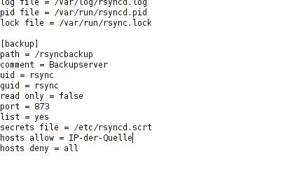 Inhalt der rsyncd.conf