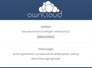 Updatecenter von ownCloud meldet Version 8.0.2